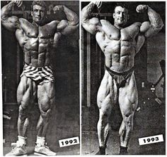 Dorian attributed his stunning 92-93 transformation to reduced volume, high intensity training. In reality, GH and insulin were just beginning to make their impact on the pro ranks.