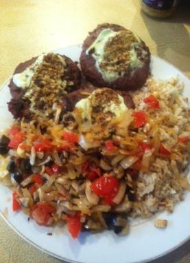 Nightly Diet Meal - Kangaroo burgers, cauliflower rice, mixed veg, avocado dip and seeded mustard